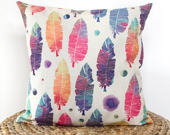 Feather Pattern Pillow Cover, Boho Pillow Cover, Colorful Feather Throw Pillow, Decorative Pillow Cover, Cushion CoverChristmas Gift Idea