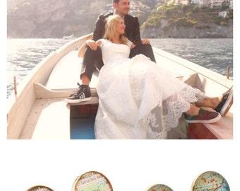 Destination Wedding Map Cufflinks in Golden Bronze