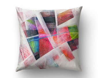 Abstract Pillow Case, Red Art Pillow, Abstract Decoration, Home Decorating, Printed Pillow, 18x18 Pillow Case
