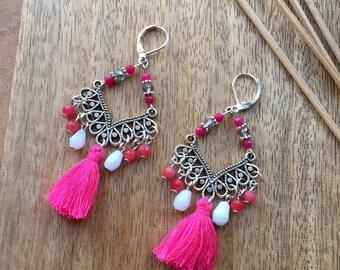 Fringe Earrings Boho Earrings Tassel Earrings Pink Earrings Chandelier Earrings Gemstone Earrings Boho jewelry Gypsy Earrings Gift for Her