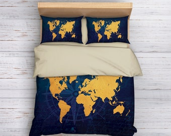 World map blanket etsy world map comforter travel map comforter winter comforter summer comforter navy and gumiabroncs Gallery