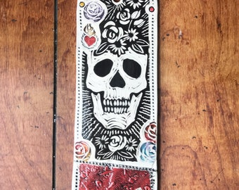 Day of the Dead Skull with Heart and Flowers, Black, White, Red & Gold Wall Hanging Art