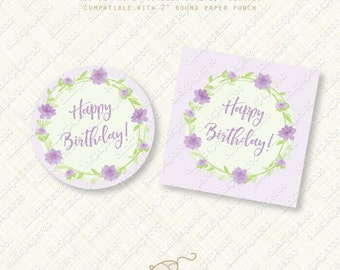 Printable Purple Flower Happy Birthday Cupcake Toppers. Party Favor tags. instant download pdf diy digital Sticker wreath favors flowers