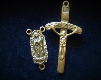 Great Kit, cross and connector 3 links cross 49 x 25 mm, Bronze Rosary Center Rosary size 28 x 13 mm