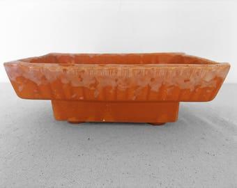 Orange Rectangular Planter 50s C 2 USA Ribbed Drip Glaze