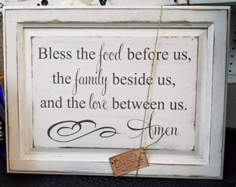 Bless The Food Before Us Cabinet Door Sign Kitchen Decor Farmhouse Handpainted Religious