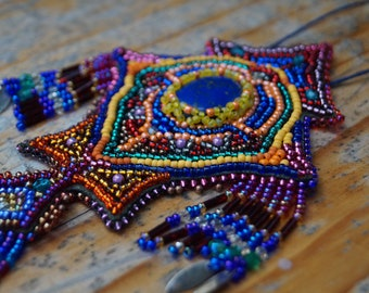 Bead embroidered necklace, handmade