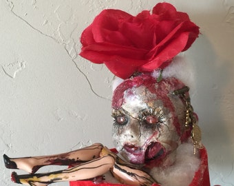Two Faces, One American Beauty - Creepy Goth Doll Head Mixed Media Assemblage Art