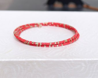 Red Miyuki Delicas Beads Bracelet