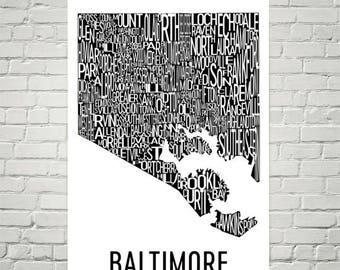 Baltimore Typography Neighborhood Map Art City Print, Baltimore Wall Art, Baltimore Art Poster, Gift, Map of Baltimore, Maryland Artwork