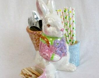 Easter Decoration Vintage Easter Bunny Figurine Ceramic Rabbit Easter Rabbit Spring Rabbit Shelf Sitter White Rabbit Spring Decoration