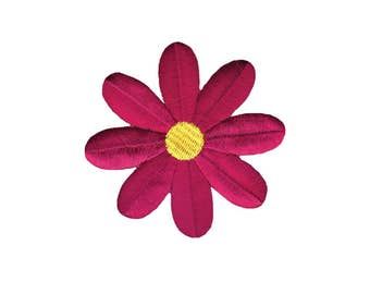 Fuschia Flower Iron On Applique, Flower Applique, Floral Patch, Floral Iron On Patch, Flowers Patch, Embroidered Patch