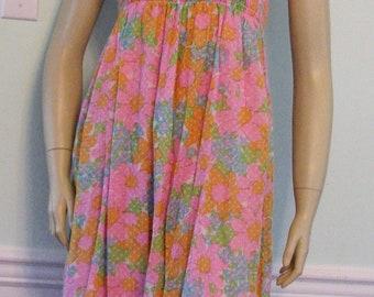 1970s Dress Mod Sun dress Flower Power Kawaii Pink Polka Dotted Sun Dress Ruched