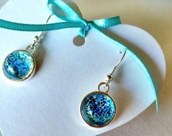 Mermaid blue glitter earrings. Silver plated for pierced ears. Gift idea