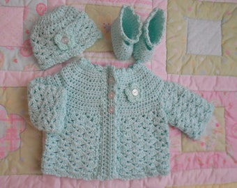 baby sweater, baby girl sweater, crochet baby sweater, baby sweater crochet, infant sweater, newborn cardigan 0 to 3 mo mint green baby set