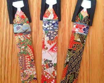 Handmade Japanese Origami Geisha Paper Doll Art Bookmarks