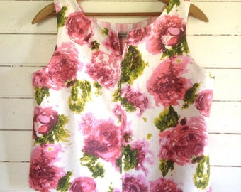 summer shirt sleeveless top - easy fit Large - 50s vintage watercolour roses
