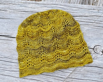 PDF knitting pattern instant download for the Ginger Wave Sampler Hat - Knit Your Own Fine Knit Lace Beanie