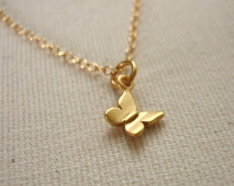 Tiny Butterfly Necklace 24K Gold Vermeil - Nature Jewelry