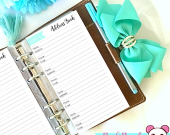Contact list address book personal/compact, printable planner pages, three color options included, FREE COVER