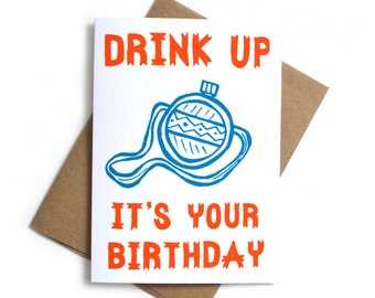 Drink Up Canteen Birthday Card | Birthday Card for Him | Bday Camping Card | Funny Birthday Card