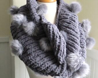 Faux Fur Pompom Cowl--Dove Gray