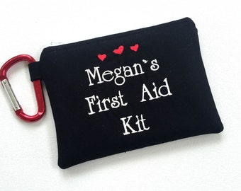 Personalized First Aid Kit, Fully Stocked, Teacher gift, Medicine Bag, Zippered Medical Pouch, Emergency bag, Boo Boo Bag, Teacher Pouch