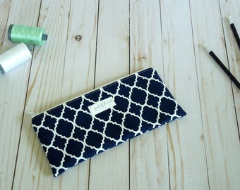 Navy Moroccan and Chevron Pencil Bag/ Pencil Pouch/ Back to School
