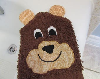 Bear Bath Mitt Puppet - Dark Brown