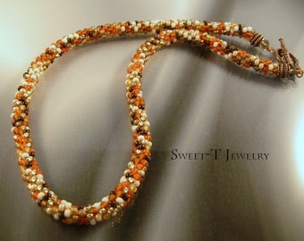 FREE SHIPPING - Beaded Kumihimo and Copper Necklace