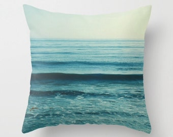 blue throw pillow, beach pillow cover, ocean waves print, beach home decor, nautical, girls room, 18x18 pillow case, gift for her, yoga