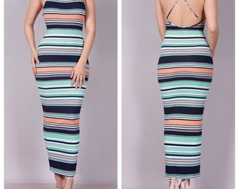 Cross Stripe Maxi Dress