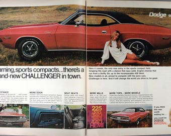 Dodge  # 154   Dodge Challenger   two  Page  Magazine Ad  Sept. 1969