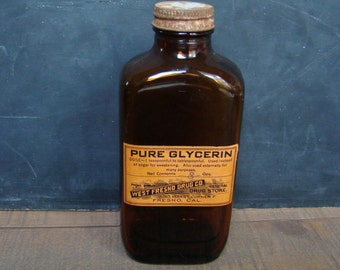 Vintage Glass Pharmacy Bottle, West Fresno Drug Co, Pure Glycerin, Empty Brown Apothecary Bottle