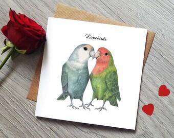 Anniversary Card - Lovebirds Card - Cute Anniversary Card - Wedding Card - Bird Card - Engagement card - Cute Valentines card