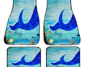 Mermaid Crossing Art Car Mats front and rear from my original design