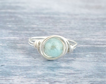 Aquamarine Ring, Silver Mint Ring,  March Birthstone Ring, Aquamarine Sterling Silver Ring, Aquamarine Jewellery, Any Size, Gifts for Her