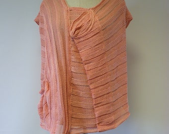 Summer knitted pink linen blouse, XL size. Only one sample.