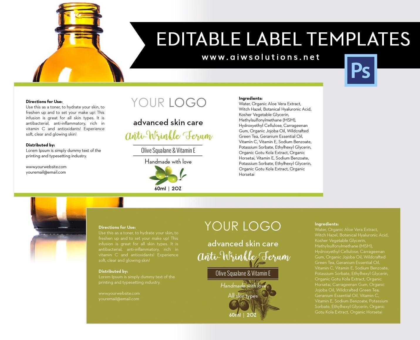 Olive label template product labelolive Skin Care label