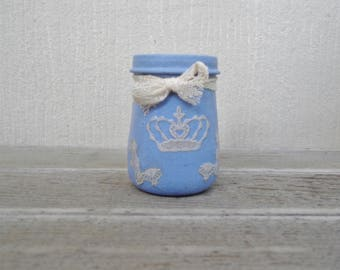 Cute Purple Frosted Lace Stash Jar One of a Kind Handpainted Upcycled Glass Nug Jug