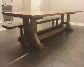 Farmhouse Dining Table // Testle // Knotty Alder // Rustic // PB Inspired // H Style