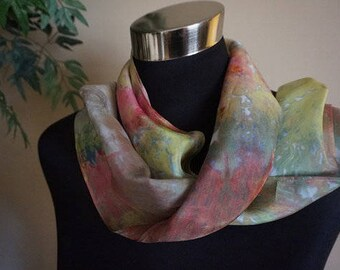 clothing, gifts, hand dyed silk scarf, ice-dyed silk scarf, hand dyed scarf, 100% silk scarf, scarf, scarves, ladies  scarf, neck scarf