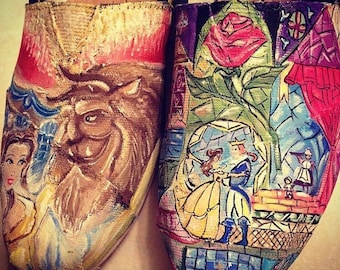 Beauty & the Beast Painted Shoes