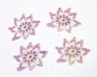 4 appliques sewing violet flower