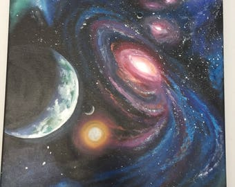 Outer space - star galaxy , acrylic painting , contemporary art , wall art , planets, solar system