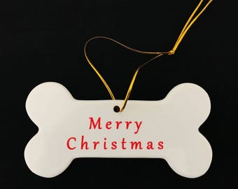 Merry Christmas Dog Bone - I Love My Service Dog Hanging Ceramic Ornament (Customize with dogs name - Choose Text Color)