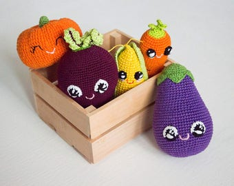 Crochet toys vegetables , varicolored baby shower gift , set of 5  play food, amigurumi  toy, Pretend play