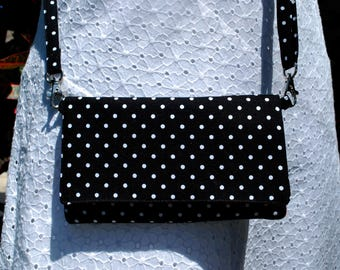 iPhone X 8/8Plus Android Cell Phone Purse Cross Body Shoulder Bags Zipper Pocket Black White Polka Dots