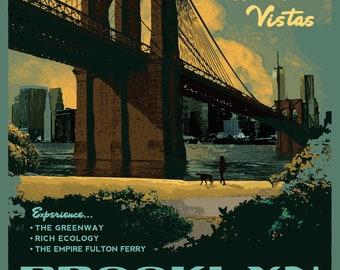 NYC Set of 4 posters  - Central Park, Battery Park, The Highline and Brooklyn Bridge