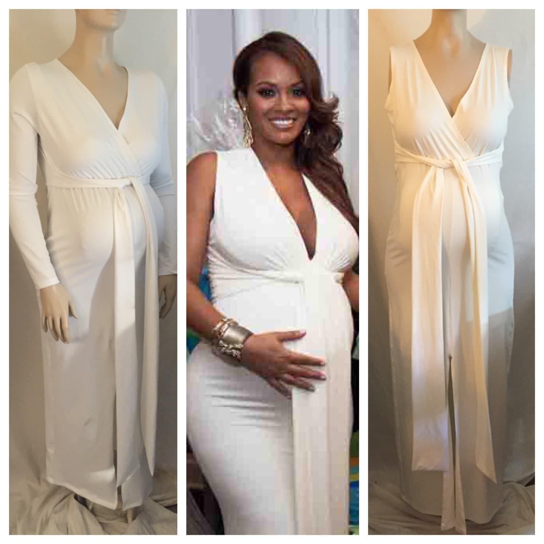 Baby pink maternity maxi dress